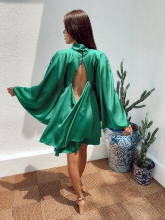 Robe satinée dos ouvert STANLEY verte