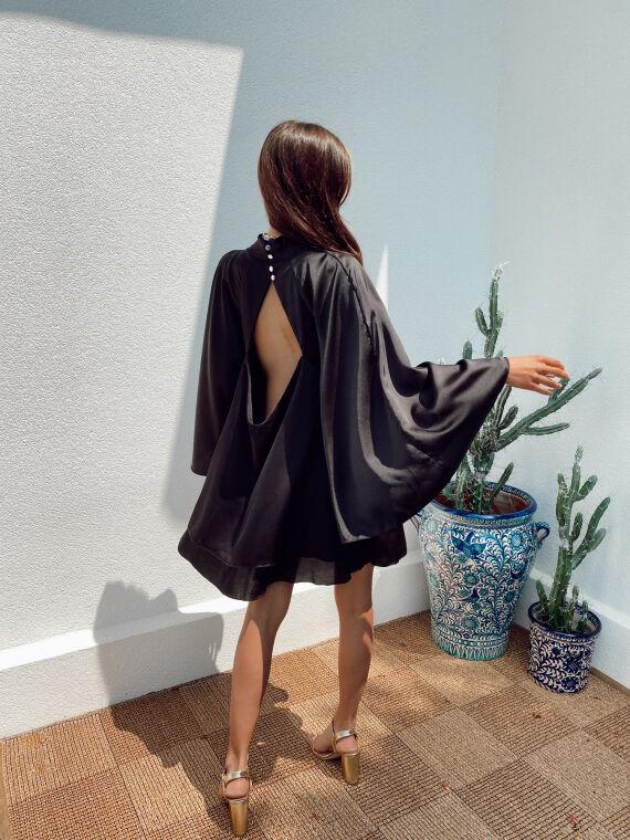 Robe satinée dos ouvert STANLEY noire