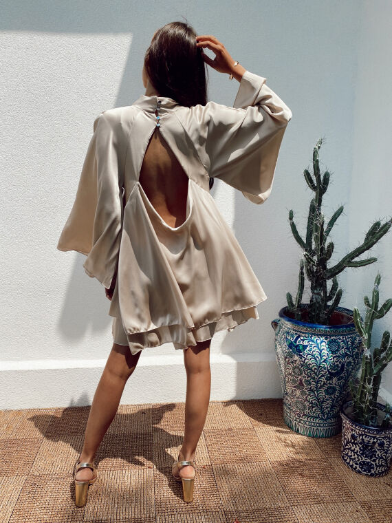 Robe satinée dos ouvert STANLEY beige