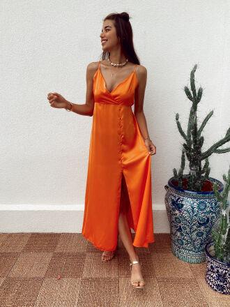 Robe longue boutonnée en satin GAVIN orange