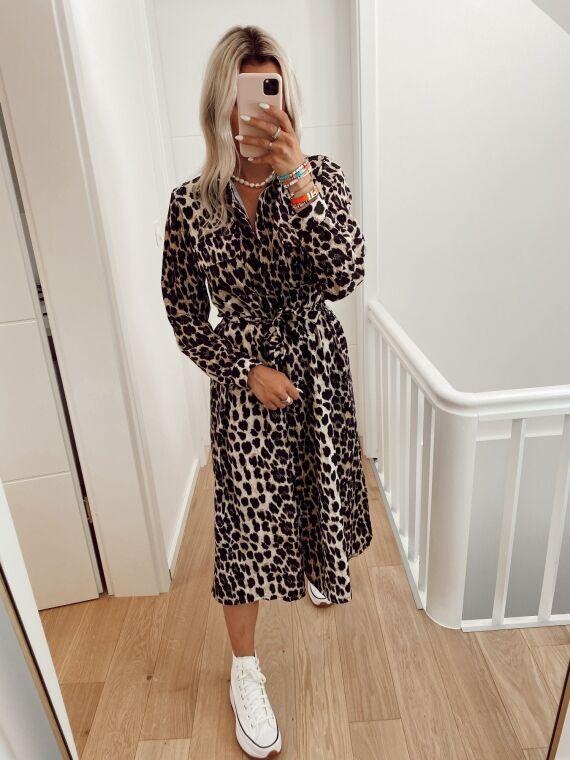 Beige leopard KIKO long dress