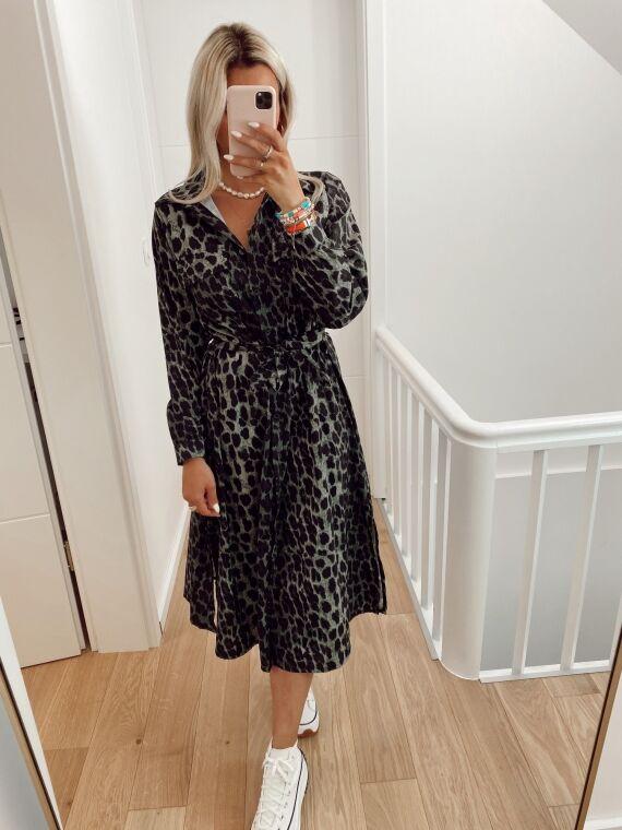 Leopard long dress KIKO in khaki