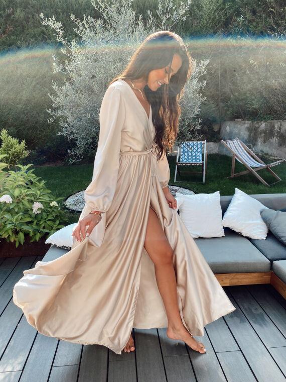 Robe longue satinée AMANDE beige