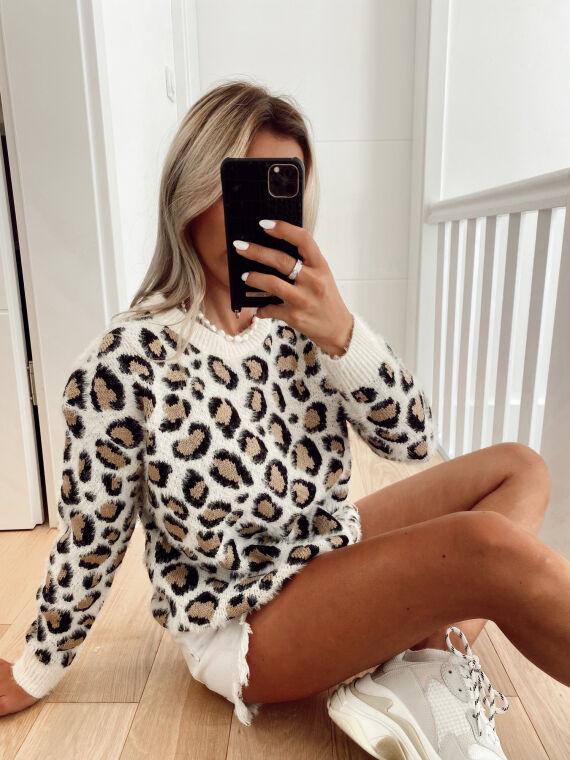 Pull à motif léopard ALARICK beige