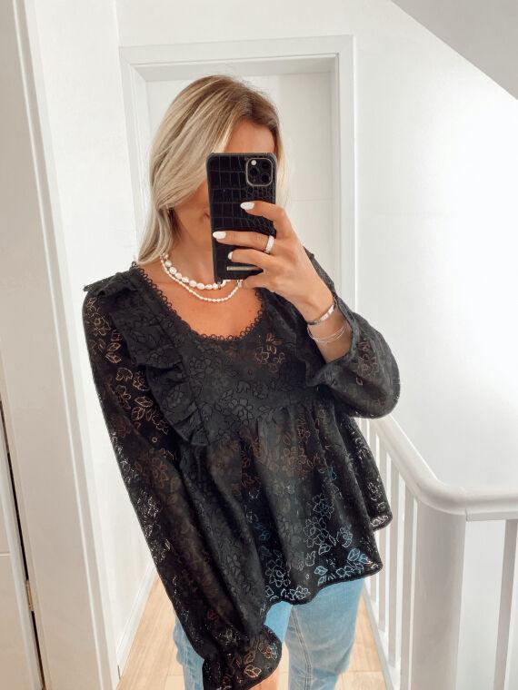 Openwork blouse STROLLING in black