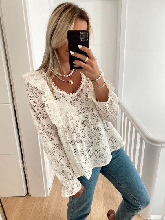 Openwork blouse STROLLING in beige