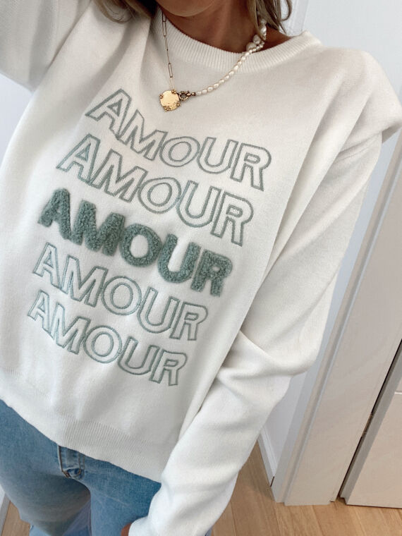 Embroidered jumper with epaulettes AMOUR in ecru