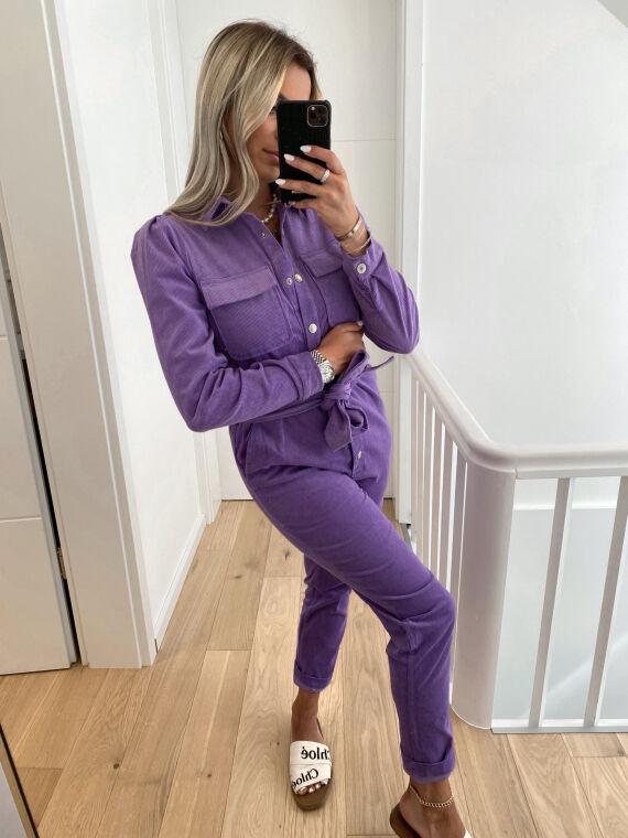 Combinaison en velours côtelé WALK violette