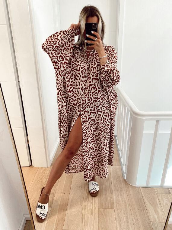 Robe chemise oversize léopard MERIDA brique