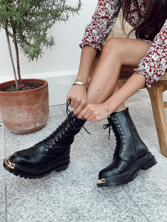 Black BARNES lace-up boots with gold metal toe