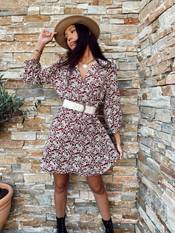 BEL AIR burgundy floral double-breasted collar dress
