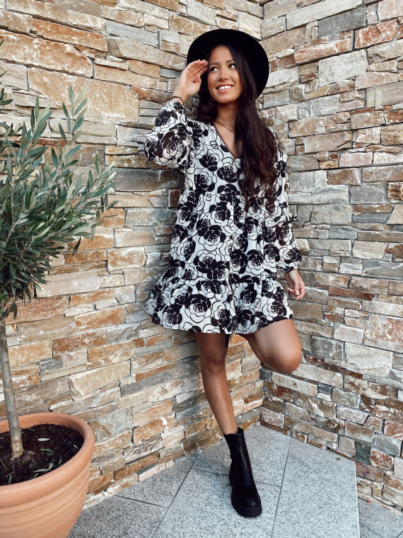 Flared dress with large flowers GISELLE black