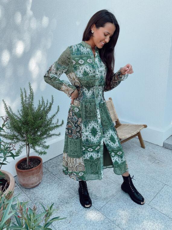 Robe longue motif cachemire LUDMILLA verte