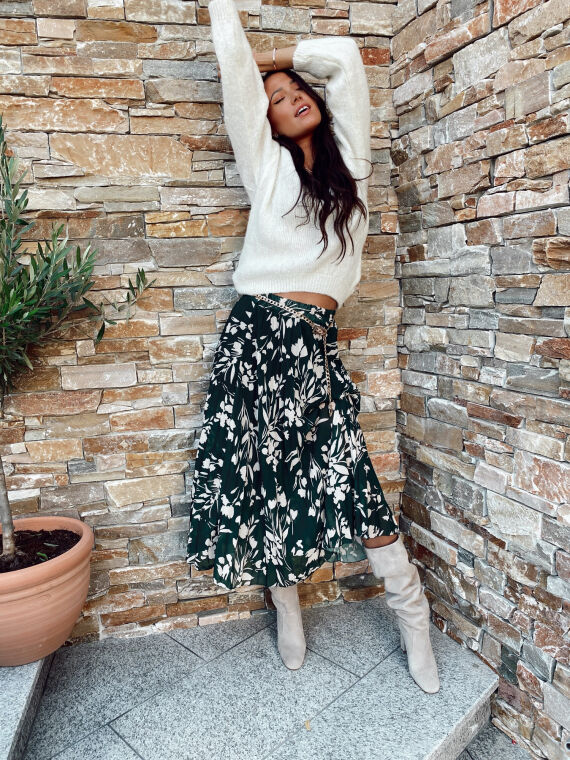 Pleated long skirt with floral pattern RIVAL in green/beige