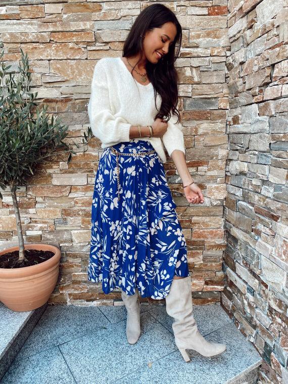 Jupe longue plissée motif floral RIVAL bleu/blanc