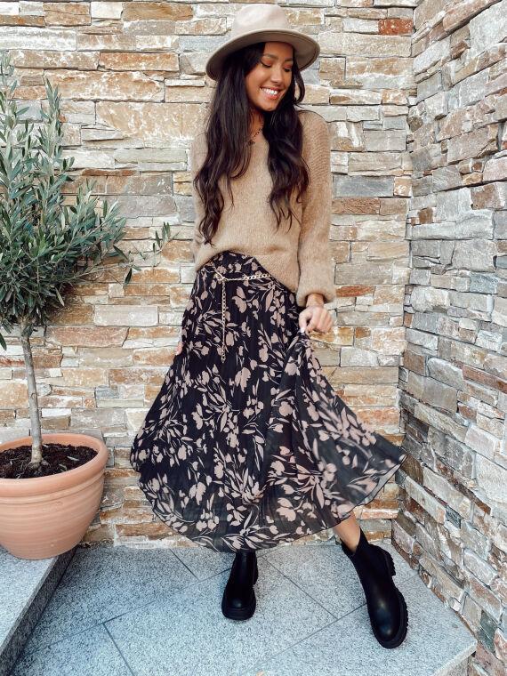 Jupe longue plissée motif floral RIVAL noir/brun