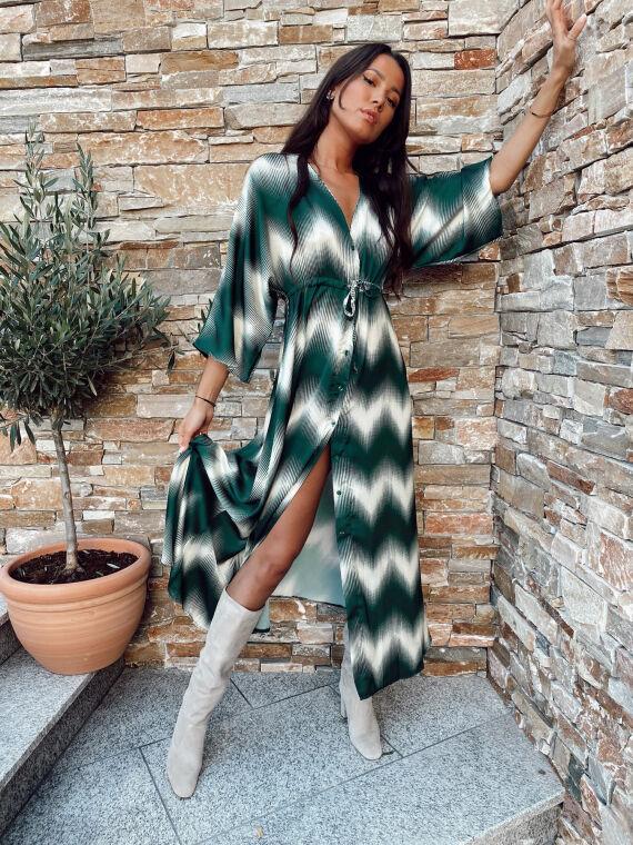 Robe longue satinée bicolore GIOIA verte