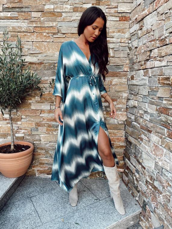 Two-tone satin long dress GIOIA blue