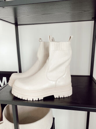 Bottines chelsea coupe effet chaussette ODILE beiges