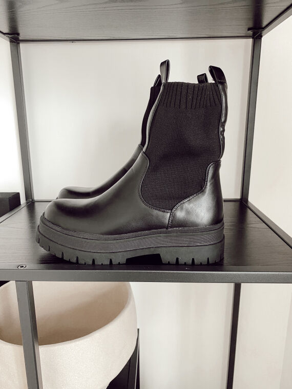 Black ODILE sock effect Chelsea boots