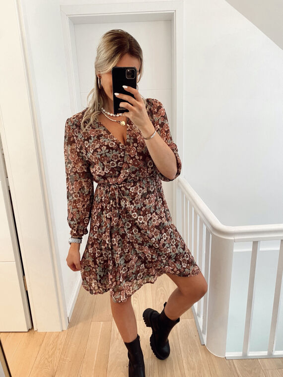 Floral and lurex wrap dress CABELLO in plum