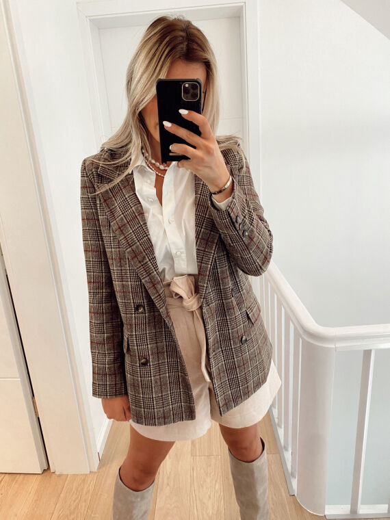 Long wool blazer with check pattern TAIO in taupe
