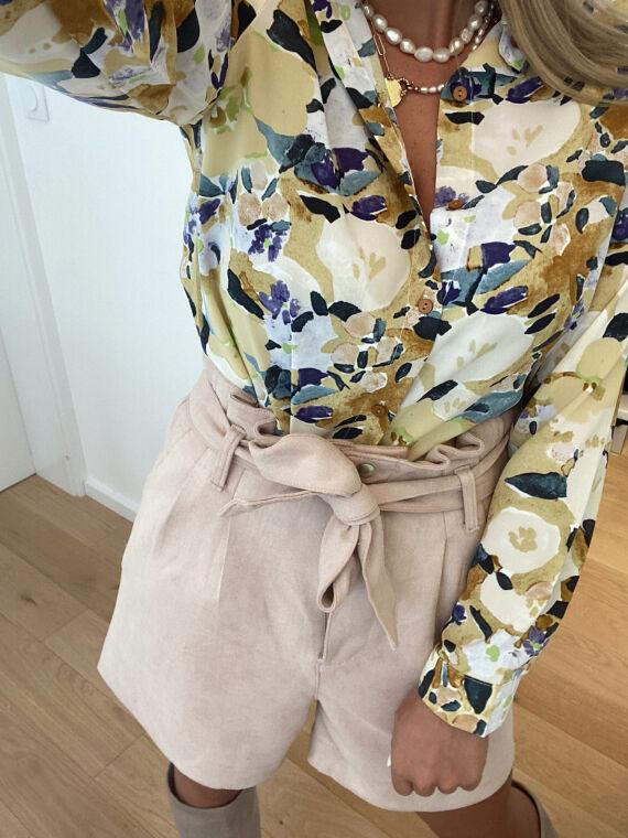 Floral print shirt VARTAN in yellow