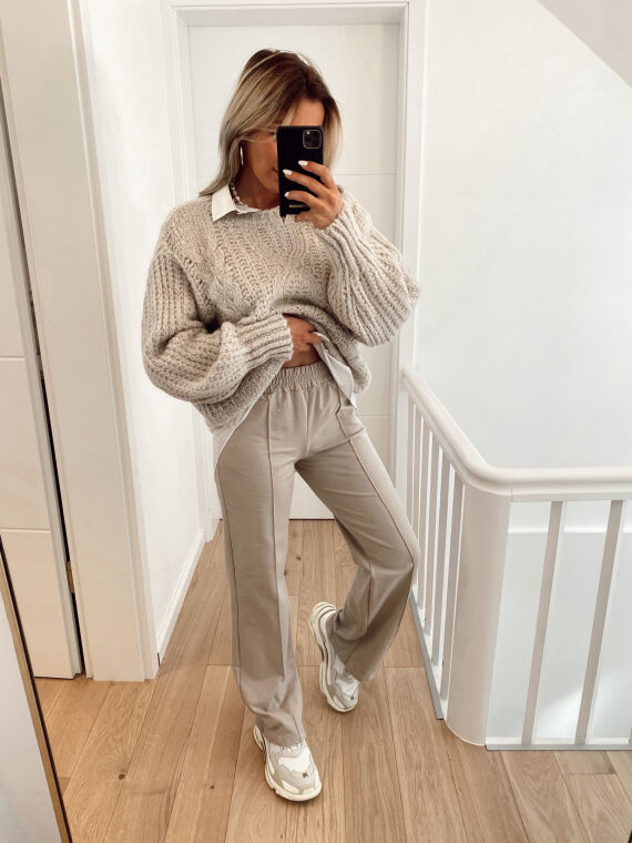 Jogging trousers with couture details MITSOU in beige