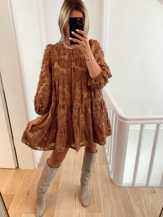 Babydoll dress with plumetis SIENA in camel