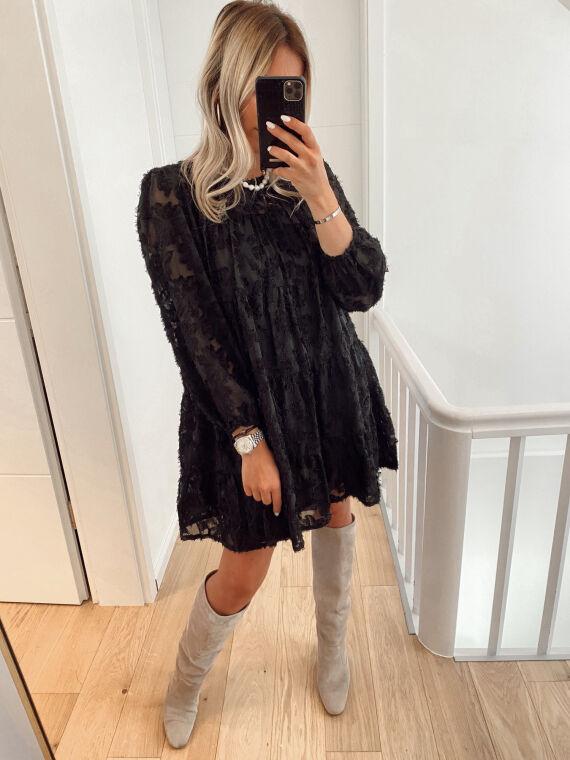 Babydoll dress with plumetis SIENA in black