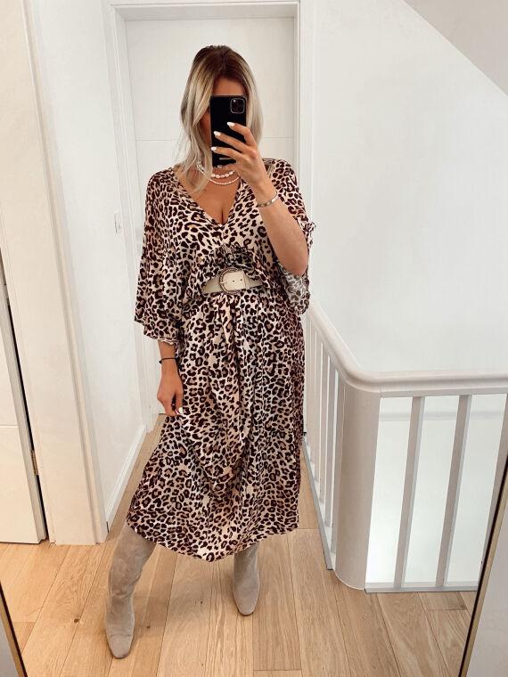 Leopard satin maxi dress CARDONA in beige