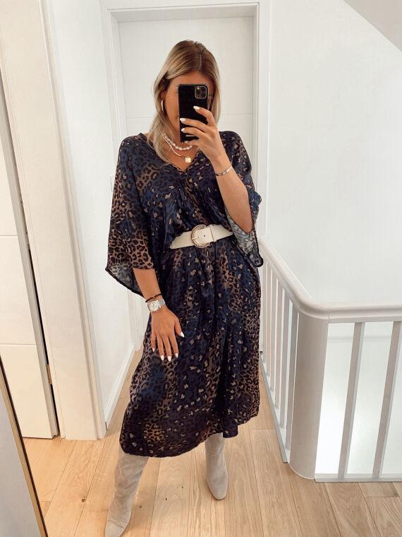 Leopard satin maxi dress CARDONA in blue