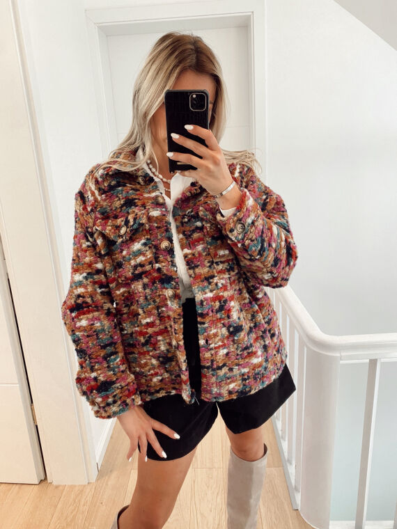 Colorful knit jacket DONNA in camel