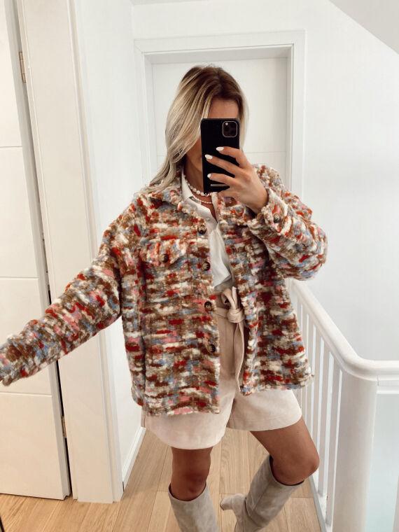 Sur-chemise en grosse maille colorée DONNA écrue