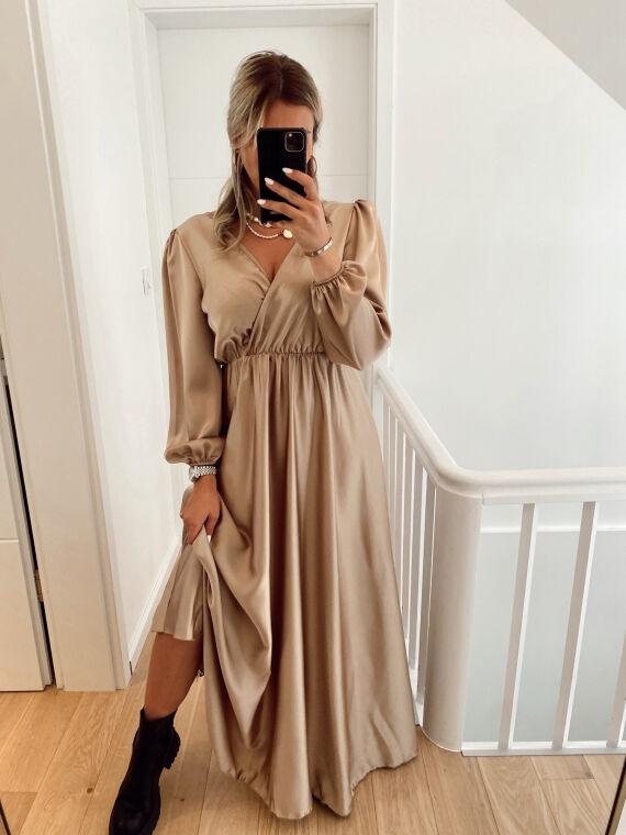 Long satin dress NOVIA in beige