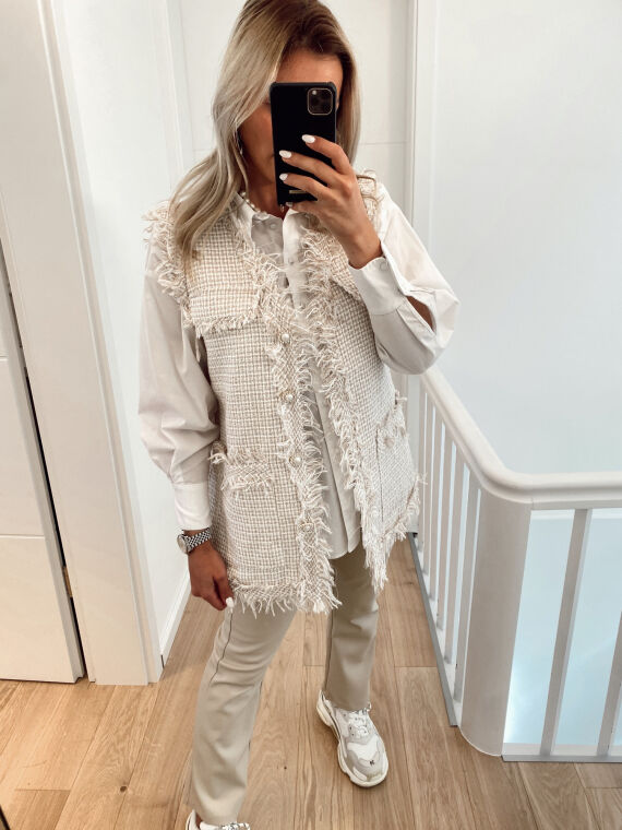 Sleeveless tweed jacket with jewel buttons FELIX in beige