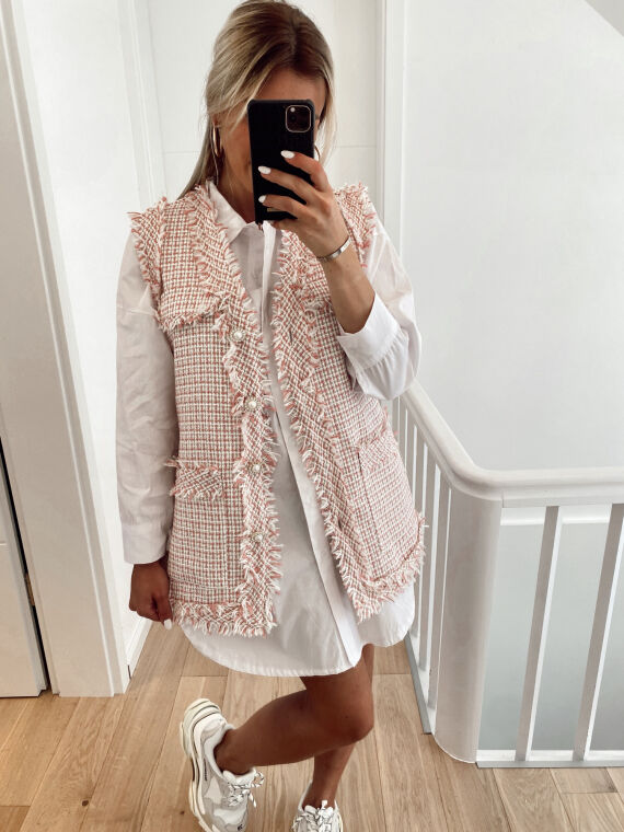 Sleeveless tweed jacket with jewel buttons FELIX in pink