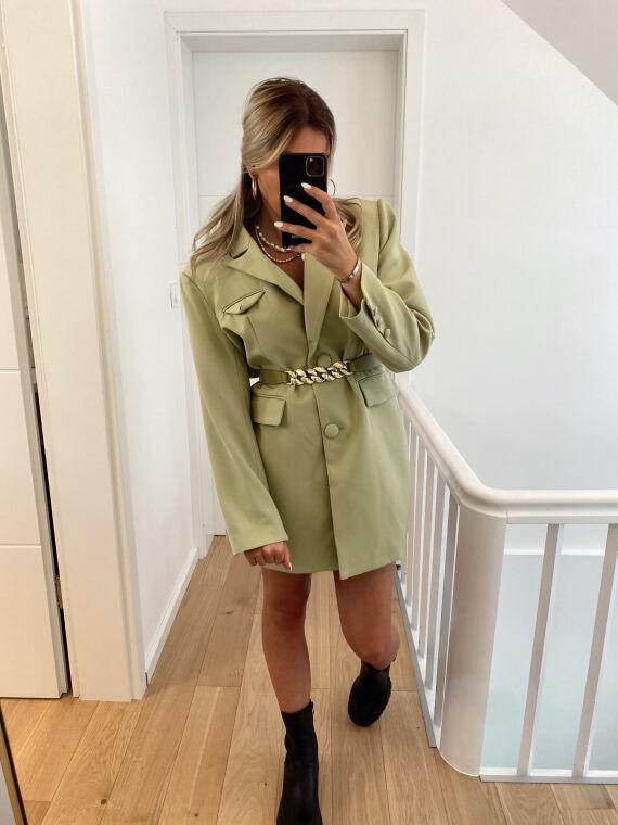 Robe blazer oversize avec ceinture chaîne KANSAS verte
