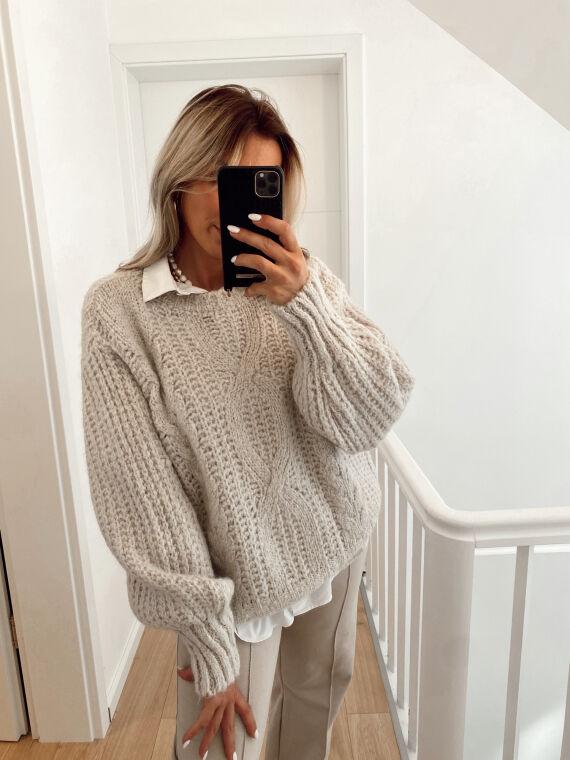 Knitted jumper FORTUNATE in beige