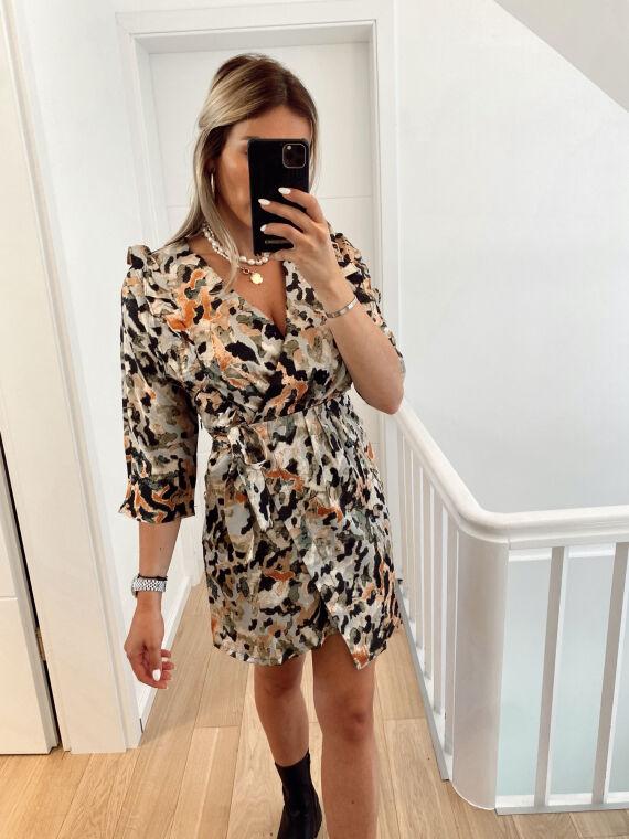 Spotted and satin wrap dress LAROI in khaki