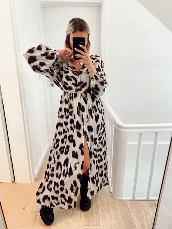 Robe longue satinée imprimé léopard AGUILERA beige