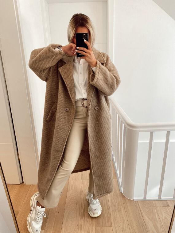 Long oversized wool felt coat with stripes PASCAL in beige