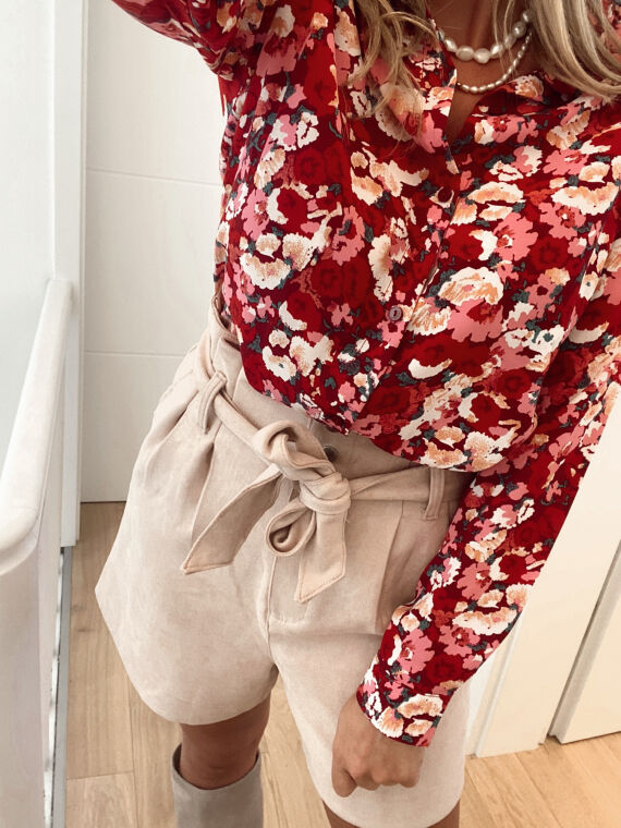Chemise motifs fleuris BUDDY rouge