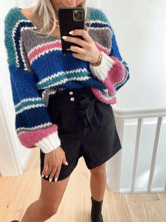 High waist shorts with suede belt AVENIR in black