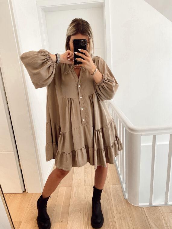 Robe babydoll col montant AUBE camel