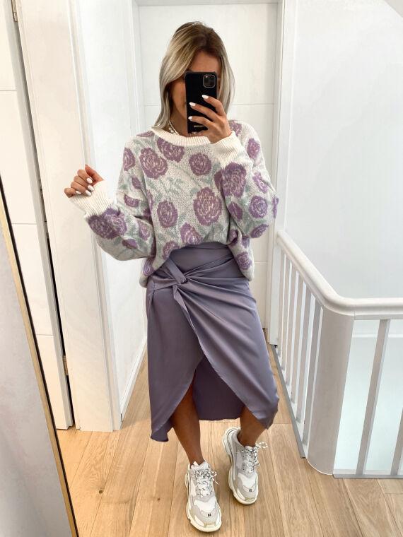 Satin wrap skirt GLACY in purple