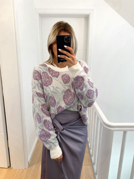 Loose-fitting floral knit jumper SHADY in lilac