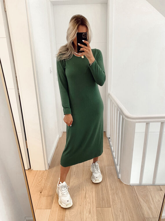 Robe pull coupe longue en maille fine TOY verte