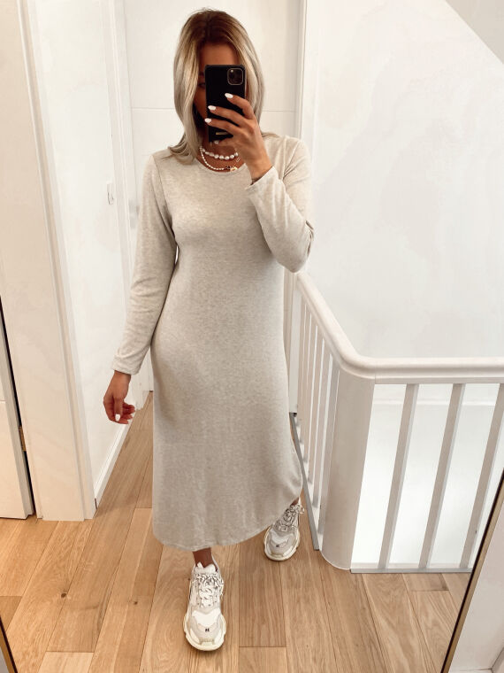 Robe pull coupe longue en maille fine TOY beige