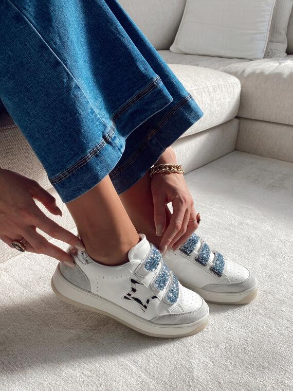 Sneakers à scratch et paillettes SLOW blanches